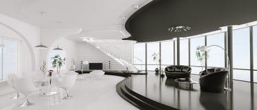 Interior of modern apartment panorama 3d render Stock Photo