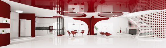 Interior of modern apartment panorama 3d render Royalty Free Stock Photography