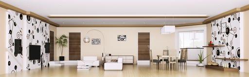 Interior of modern apartment panorama 3d render Stock Photos