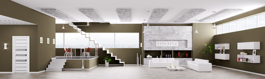 Interior of modern apartment panorama 3d render Royalty Free Stock Photo