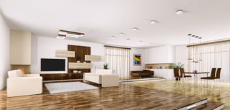 Interior of modern apartment panorama 3d render Stock Image