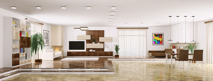 Interior of modern apartment panorama 3d render Stock Images