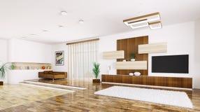 Interior of modern apartment panorama 3d render Stock Image