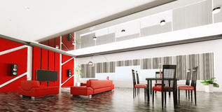 Interior of modern apartment panorama Stock Photography