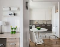 Interior of modern apartment in scandinavian style with kitchen Royalty Free Stock Photography