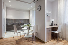 Interior of modern apartment in scandinavian style with kitchen Stock Photography