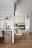 Interior of modern apartment in scandinavian style with kitchen Stock Photos