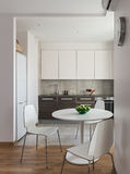 Interior of modern apartment in scandinavian style with kitchen Royalty Free Stock Images