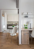 Interior of modern apartment in scandinavian style with kitchen Stock Images