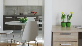 Interior of modern apartment in scandinavian style with kitchen and workplace. Motion panoramic view stock video