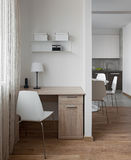 Interior of modern apartment in scandinavian style with workplac Stock Image