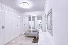 The interior of a modern apartment in white. Stock Photo