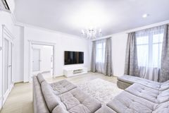 The interior of a modern apartment in white. Stock Images