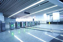 Interior of the modern architectural at automatic fare gate Stock Photo