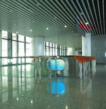 Interior of the modern architectural at automatic fare gate Stock Photos