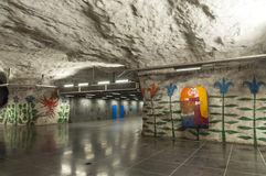 The interior of the modern art Stockholm Tunnelbana Subway Stock Images