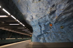 The interior of the modern art Stockholm Tunnelbana Subway, Station Stadion Stock Images
