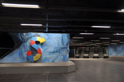 The interior of the modern art Stockholm Tunnelbana Subway, Station Stadion.  Stock Image