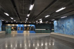 The interior of the modern art Stockholm Tunnelbana Subway, Station Stadion.  Royalty Free Stock Photos