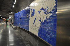The interior of the modern art Stockholm Tunnelbana Subway, Station Stadion.  Stock Photography
