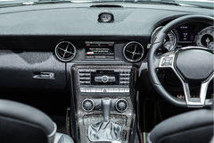 Interior of a modern automobile showing the dashboard Stock Image