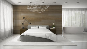 Interior of modern badroom with bathtube 3D rendering Royalty Free Stock Images