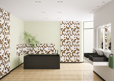 Interior of modern bathroom 3d render Royalty Free Stock Image