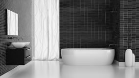 Interior of modern bathroom with black tiles  wall Royalty Free Stock Photos
