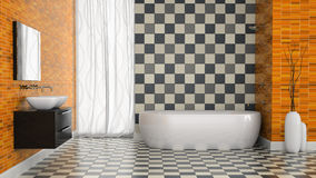 Interior of modern bathroom with black and white tiles  wall Stock Photos