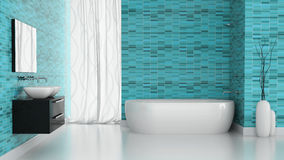 Interior of modern bathroom with orange tiles wall stock - Deco salle de bain bleu ...
