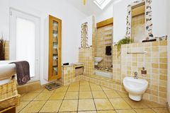 Interior of modern bathroom with mediterranean style tiles stock images