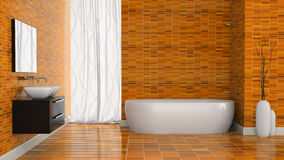 Interior of modern bathroom with orange tiles  wall Royalty Free Stock Images