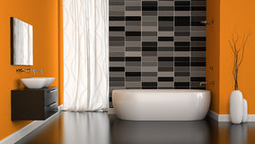 Interior of modern bathroom with orange wall Royalty Free Stock Photo