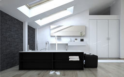 Interior of Modern Bathroom with Skylights Royalty Free Stock Photography