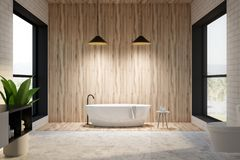 Brick and wooden bathroom interior, round tub. Interior of modern bathroom with white brick and wooden walls, a roundish bathtub and a toilet. Two loft windows vector illustration