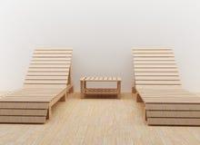 Interior modern beach chair design for rest in 3D render image. Interior modern couple of beach chair design for rest in 3D render image Stock Images