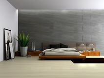 Interior of modern bedroom. 3D rendering royalty free illustration