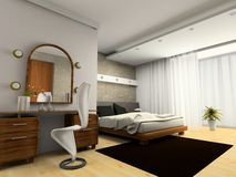 Interior of modern bedroom. 3D rendering royalty free stock image