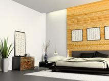Interior of modern bedroom. With Chinese furniture 3D rendering stock illustration