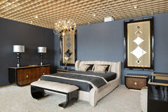 Modern interior.Bedroom. Royalty Free Stock Photography