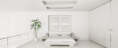 Interior of modern bedroom panorama 3d render Stock Image