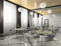 Interior of modern bistro. (cafe) 3D rendering Stock Photos