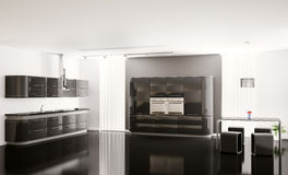 Interior of modern black kitchen 3d Stock Photography
