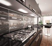 Interior of modern black kitchen 3d render. Interior of modern black kitchen with gas cooker 3d render Stock Image