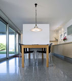 Interior modern brick house. Beautiful Internal view of a modern house Royalty Free Stock Image