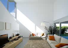 Interior modern brick house. Beautiful Internal view of a modern house royalty free stock photo