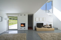 Interior modern brick house. Internal view of a modern house stock photo