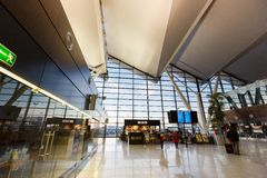 Interior of modern building of Lech Valesa airport Stock Photo