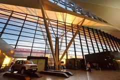 Interior of modern building of Lech Valesa airport Stock Images