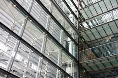 Interior of a modern building steel and glass Stock Image
